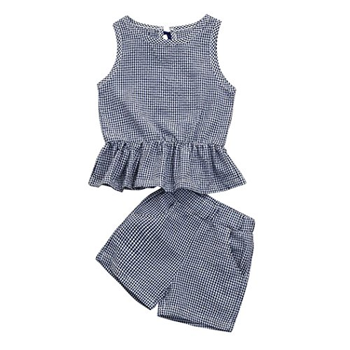 JERFER Kleinkind Kinder Baby Mädchen Plaid Weste Tops + Shorts Set Outfit Kleidung