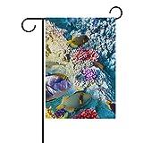Bennigiry Fische Korallen Meer Ozean Polyester, Garten-Banner, 12x 18cm, Saison-Flagge für Outdoor Garten Deko für Hochzeit, Gesponnenes Polyester, mehrfarbig, 12x18(in)