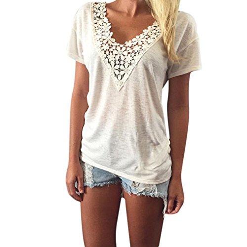 LSAltd Damen Spitze V Ansatz Kurzschluss Hülsen Weste Oberseiten Blusen T-Shirt Sommer (Weiß, XXXXXL)