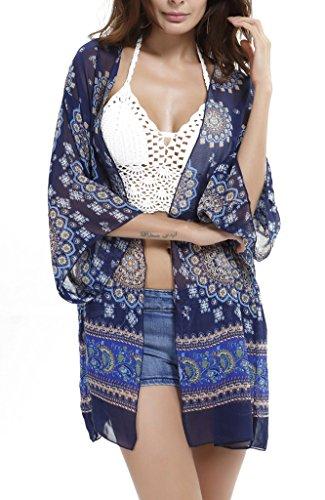 COMVIP - Poncho - Camicia - Floreale - Maniche corte  -  donna royal blu