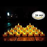 LED Kerzen,24 Stück LED Teelichter Kerzen CR2032 Batterie betrieben Kerzen unscented flammenlose Teelicht helle flackernde 100 + Stunden der Beleuchtung elektrische gefälschte Kerze für Zuhause Weihnachtsschmuck Hochzeit Tisch Geschenk im Freien warm gelb [Energieklasse A +++](Warmes Gelb, 1×24)