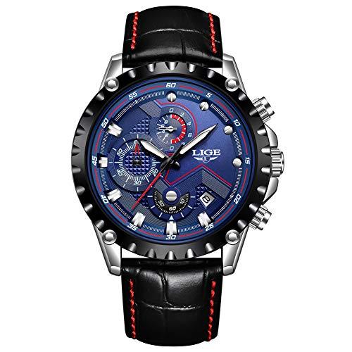 LIGE Uhren Herren Leather Leder Wasserdicht 30M Sport Analog Quarz Uhren Herren Datum Mode Schwarz Klassische Armband