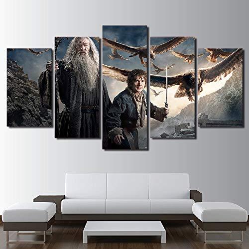HIMFL Wandkunst Segeltuch Malerei Wohnzimmer HD gedruckt Gandalf Bilder 5 Panel Hobbit-Herr der Ringe Poster Wohnkultur,B,20×35×2+20×45×2+20×55×1