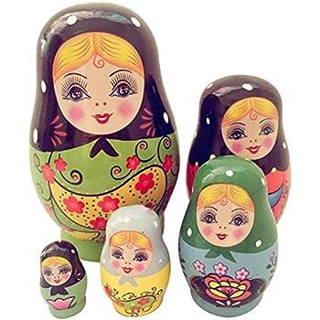 WopenJucy 10 PCS Poup/ées Couleurs de Porcelaine Poup/ées Russes en Bois Poup/ées gigogne Matryoshka Jouet Cadeau dartisanat