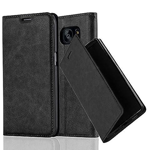 Samsung Galaxy S7 EDGE Hülle in NACHT-SCHWARZ von Cadorabo - Handy-Hülle mit unsichtbarem Magnet-Verschluss Standfunktion und Karten-Fach Case Cover Schutz-hülle Etui Tasche Book Klapp (Tasche Magnete)