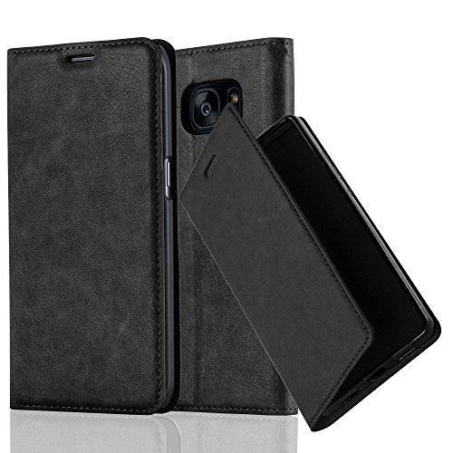 Cadorabo Hülle für Samsung Galaxy S7 Edge - Hülle in Nacht SCHWARZ – Handyhülle mit Magnetverschluss, Standfunktion und Kartenfach - Case Cover Schutzhülle Etui Tasche Book Klapp Style