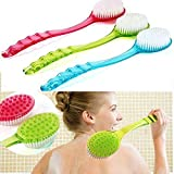 Bestrice New Long Handled Colorful Body Bath Shower Massager Back Skin Cleaning Brush (Blue)