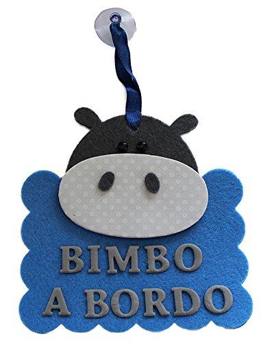 """'Schild für Auto handwerkliche Kind/A A BORDO """" IPPOPOTAMO/BIMBO"""