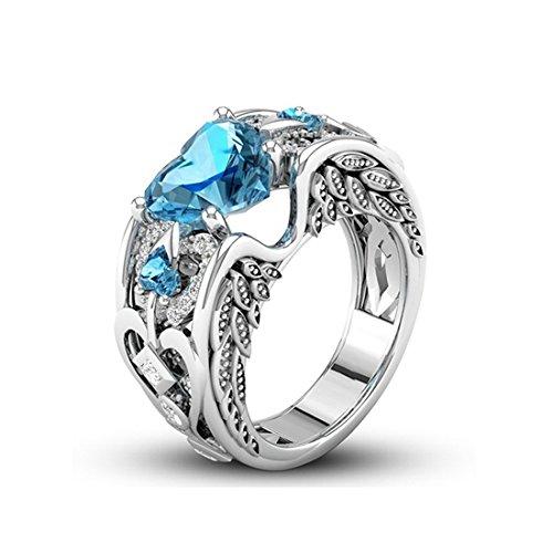Frauen Stellten Blauen Topaz Gefüllten Halo Herz Versprechen Ring Größe 10 Her Topaz Herzen Versprechen Ring