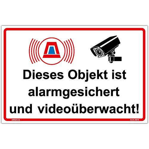 """Schild\""""Objekt alarmgesichert und videoüberwacht\"""" Hinweisschild 300x200 mm Querformat, stabile Aluminiumverbundplatte 3mm stark"""
