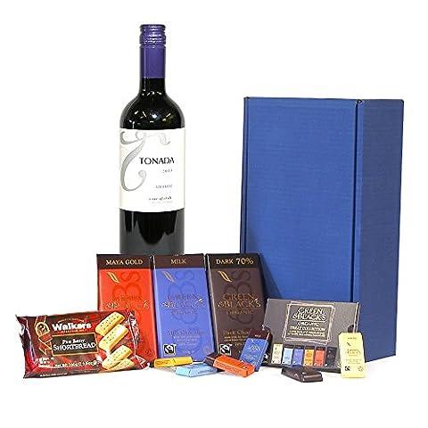 750ml Tonada Merlot Wine & Chocolate Survival Kit - Blue Gift Box Hamper with 750ml Tonada Merlot Red Wine Gift ideas