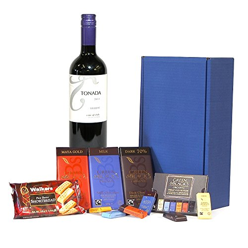 Tonada Merlot Red Wine & Chocolate Survival Kit Hamper Presented in a Blue Gift Box - Gift Ideas for Birthday, Anniversary and Corporate