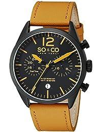 SO & CO New York 5028.3 - Reloj para hombres, correa de cuero color marrón