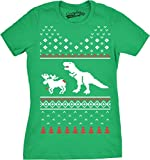 Crazy Dog Tshirts - Womens T-Rex Attack Moose Ugly Sweater T Shirt Christmas Women (Kelly Green) 3XL - Divertente Donna Magliette