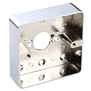 UHPPOTE Zinc Alloy Metal Surface Wall Mounted Back Wiring Box Single Gang 86LX86WX25H/mm