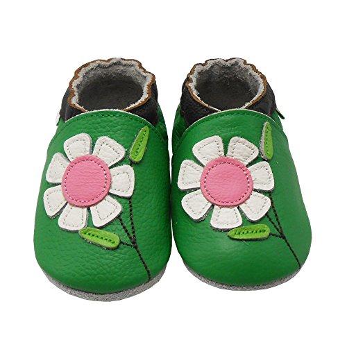 Sayoyo Fleur Chouette Chaussures De bébé en Cuir Souple Chaussures Semelle Douce Vert