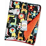 Baby Bucket Double Layer Velvet Fleece Newborn Printed Baby Blanket (Navy & Orange Weegoamgo)