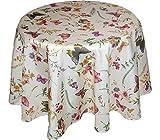 Tischdecken ALLZEIT klassisch entzückende TISCHDECKE rund 130 cm pflegeleicht creme Schmetterlinge bunt SOMMER Gartentischdecke Küchendecke Motivdruck (Tischtuch rund 130 cm)