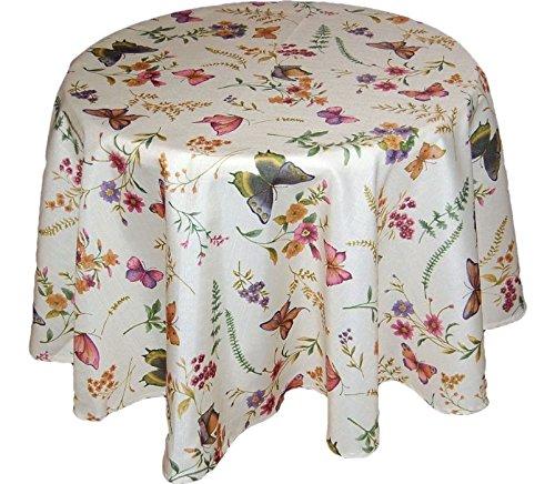 Tischdecken ALLZEIT klassisch entzückende TISCHDECKE Rund 170 cm Durchmesser Pflegeleicht Creme Schmetterlinge Bunt Sommer Gartentischdecke Küchendecke Motivdruck (Tischtuch Rund 170 cm)