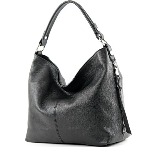modamoda de - ital. Ledertasche Shopper Damentasche Bürotasche Schultertasche Leder T160, Präzise Farbe:Schwarz (Handtasche Leder Schwarze Italienische)