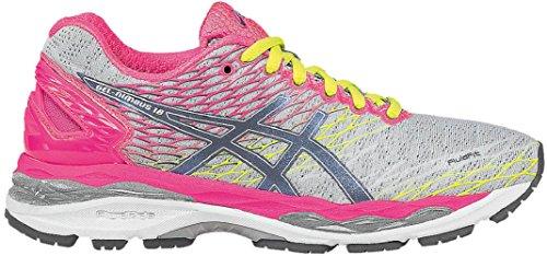 Asics Gel Nimbus 18 Laufschuhe Silber/Pink/Neon, Schuhgröße:35.5 EU