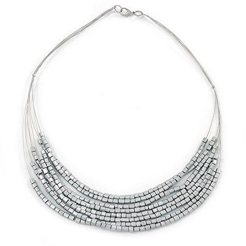 Silber Ton Armband Draht Halskette mit Metallic Silber Acryl Perlen–52cm L (Metallic Perlen Halsketten)