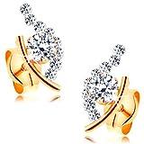 ORDOŠ Diamonds® 14K Ohrringe aus Mischgold, Goldohrstecker 585, Goldohrringe 14K, Damenohrringe, unvollständige Kornkontur, glitzernde Steine, gepunzt, 0.5 g