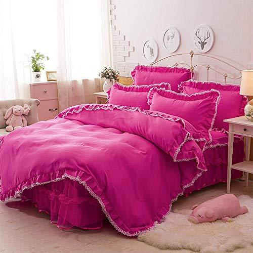 Sxuefang Bettwäsche-Set von 4 Reine Farbe Chiffon Spitze Prinzessin Bett Rock vierteilige Bettwäsche Set -