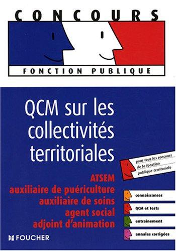 QCM sur les collectivités territoriales : ATSEM, auxiliaire de puériculture, auxiliaire de soins, agent social, adjoint d'animation