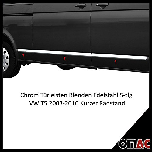 Preisvergleich Produktbild Türleisten Blenden Edelstahl Chrom 5-tlg Kurzer Radstand