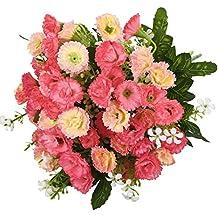 Soledi Claveles 25 Cabezas de Flores Artificiales Decoraci��ara Boda Fiesta Navidad Hogar (Rosa)