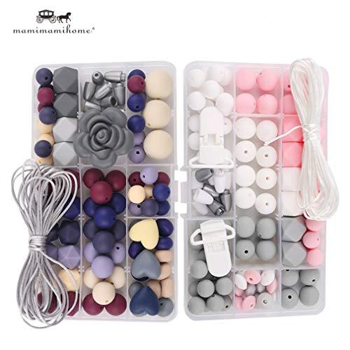 ubehör 2set Handgemacht Schnuller Clip DIY Kunsthandwerk Krankenpflege Halskette Zahnen Schmuck Baby Silikon Perlen ()