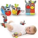 Pingenaneer Baby Rattle Toy 4PCS Babyrassel Socken Infant Weiche Spielzeug Baby Handgelenk Rassel und Food Finder Sock Set Tierspielzeug für Baby Kleinkind