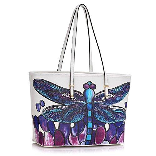 Xardi London, borsa a spalla, da donna, grande, in ecopelle, da viaggio White Dragonfly