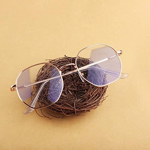 Neue Anti-Blu-ray-Brille literarischen Fan Retro-ultraleichten Polygon Brillengestell kann mit Myopie Brille Rotgold 50 123 * 50 * 50mm ausgestattet werden