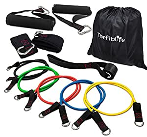 TheFitLife Exercise and Resistance Bands Set - Stackable up to 110 lbs Workout Tubes for Indoor and Outdoor Sports, Fitness, Suspension, Speed Strength, Baseball Softball Training, Home Gym, Yoga