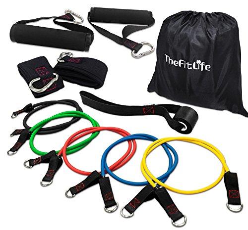 TheFitLife Übungs und Widerstandsbänder Set - Kombinierbar bis zu 50 kg Trainingsschläuche für Hallen und Freiluftsport, Fitness, Haltekraft, Geschwindigkeit, Kraft, Baseball Training, Kraftraum, Yoga