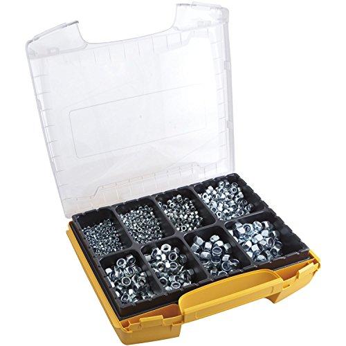 SECOTEC Profi Sicherungs-Muttern-Set im hochwertigem I-Boxx Sortimentskoffer; 760 Stück Gewindemuttern DIN985 verzinkt -