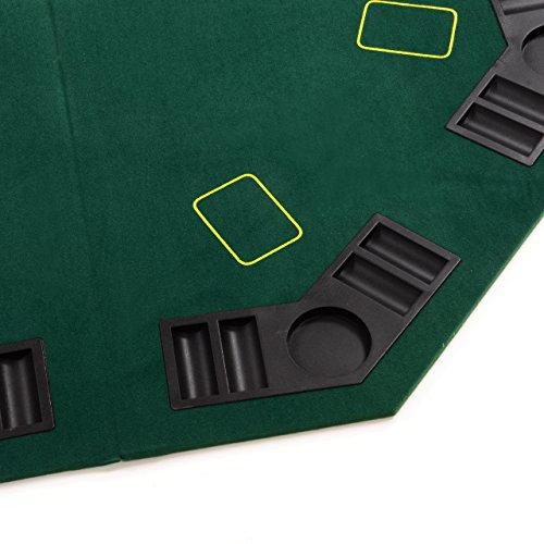 Nexos faltbare Tischauflage Casino Pokertisch Pokerauflage achteckig Holzverstärkt klappbar 120 x 120 cm Chiptray Getränkehalter inkl. Tragetasche - 3