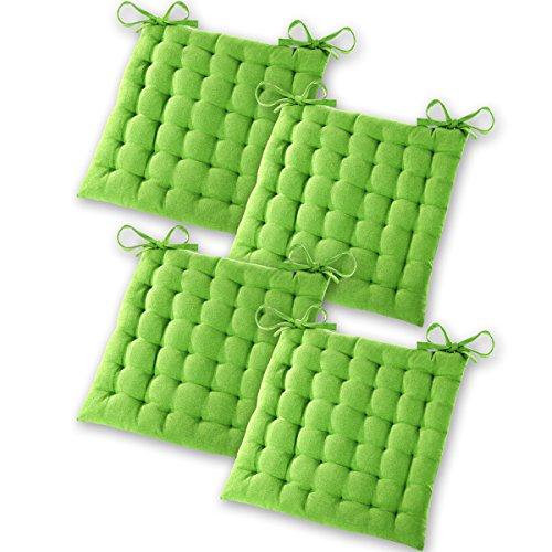 Gräfenstayn® Set de 4 Coussins d'Assise Coussins de Chaise 40x40x5cm pour intérieur et extérieur - 100% Coton - Différents Coloris – Rembourrage épais (Vert Pomme)