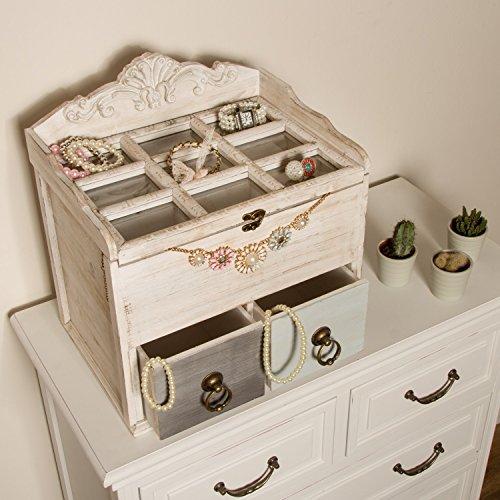 My Flair 161051 Holzbox Mikene mit 2 Schubladen und 9 Einsteckfächer im Shabbi Chic Design ca. 40 x 28 x 38 cm (BxTxH)