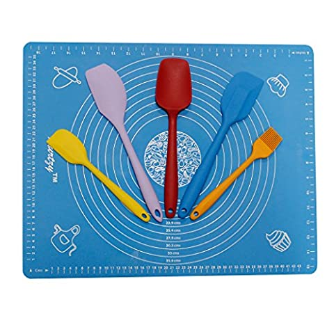 KurtzyTM Silicone Cake Decorating Mat and Utensils- Spatula, Pastry Brush- With Guide Rings And (Aragosta Torta)