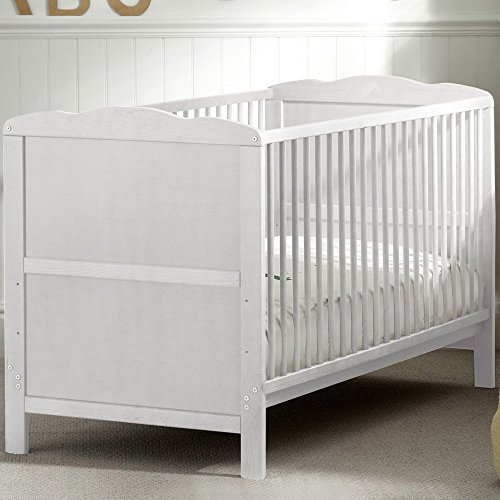 B4Beds CLASSIC WHITE BABY COT BED WITH FREE FOAM MATTRESS