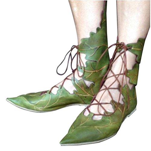 Qpyc Mme Flats Chaussures Chaussure Personnalité Habiller Pointu Système Band Plage Chaussures Pour Loisirs Vert