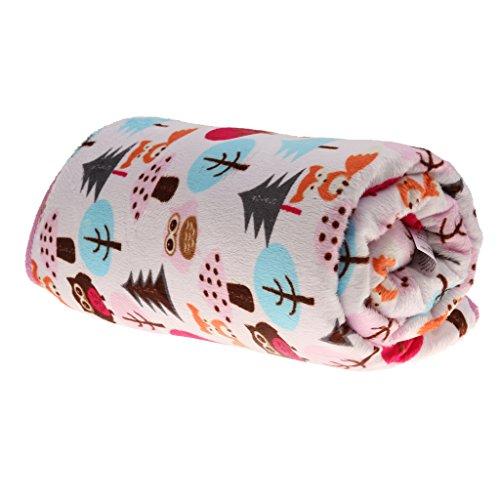 Preisvergleich Produktbild Neugeborenes Baby decken Erstlingsdecke Baumwollfleece Berber Vliesdecke Bettwäsche Unisex - Eule und Fox, one size