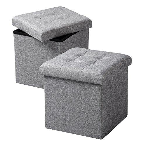 WOLTU SH06hgr-2 2er Set Sitzhocker mit Stauraum Sitzwürfel Sitzbank Faltbar Truhen Aufbew