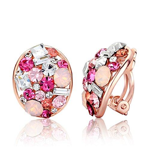moda senza clip orecchio orecchie/ Orecchini/Shining cuscino cristallo Orecchini-libero-B