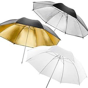 Walimex Reflex-/Durchlichtschirmset (109 cm, 3-teilig, 1xDurchlicht, 1xReflexschirm gold, 1x Reflexschirm silber)