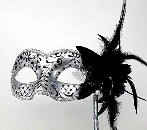 halten Schwarz und Silber Blume Perlen u. Federn Venezianische Maskerade Partei Karneval Maske auf Einem Stick ()