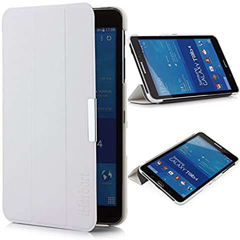 iHarbort® Samsung Galaxy Tab 4 8.0 Hülle - Ultra Slim Leder Tasche Hülle Etui Schutzhülle Für Samsung Galaxy Tab 4 8.0 Zoll T330 T335 Case Holder mit automatischer Weckfunktion (Galaxy Tab 4 8.0, Weiß)
